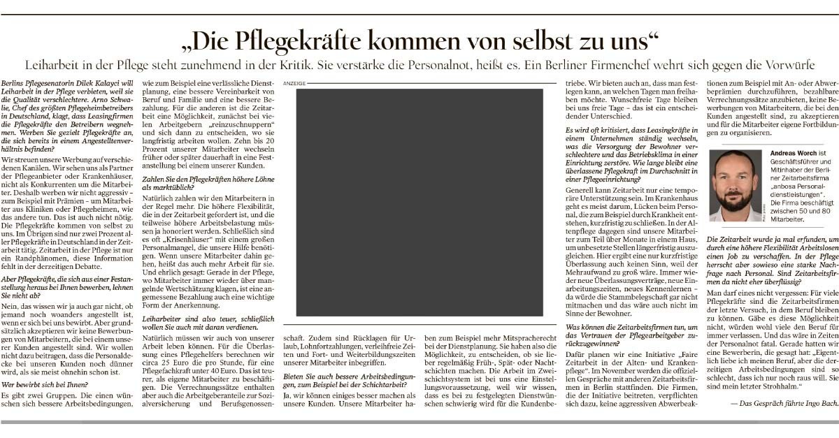 Tagesspiegel v. 14.11.2019 - Interview mit anbosa Zeitarbeit Pflege